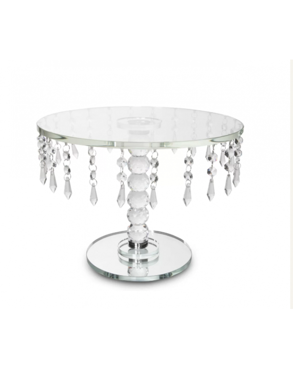 (OUT OF STOCK) CRYSTAL GLASS CAKE STAND WITH DROPL...
