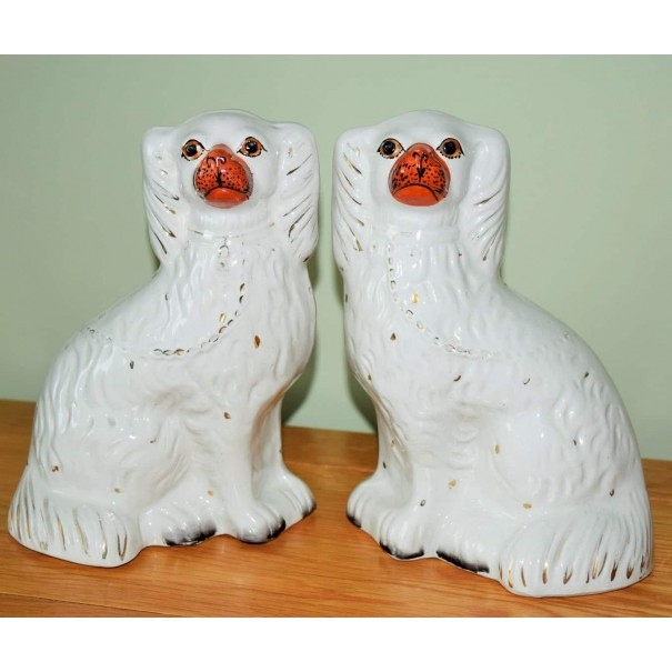 (SOLD) PAIR OF VINTAGE STAFFORDSHIRE MANTLE DOGS