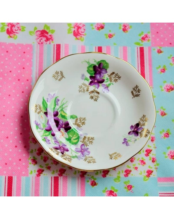 (SOLD) QUEEN ANNE CLEMATIS SAUCER