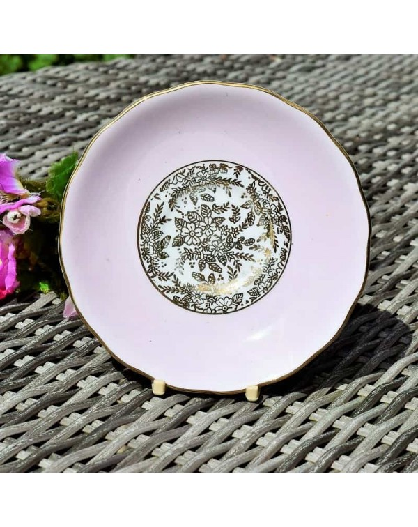 (SOLD) ROYAL VALE PINK AND GOLD TEA SAUCER