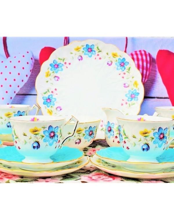 (OUT OF STOCK) AYNSLEY FLORAL BLUE CROCUS TEA SET
