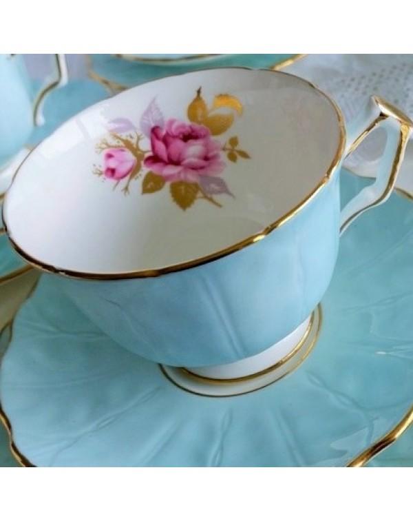 (SOLD) AYNSLEY BLUE CROCUS SHAPE FLORAL TEA TRIO