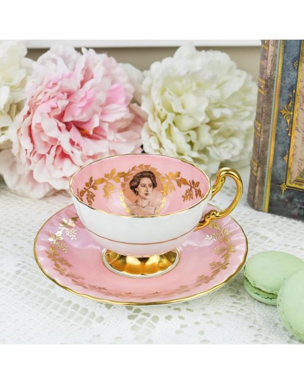 (SOLD) AYNSLEY PRINCESS MARGARET TEA CUP & SAU...