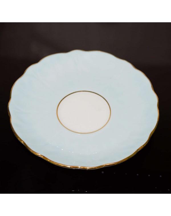 AYNSLEY BLUE CROCUS SHAPE FLORAL TEA SAUCER