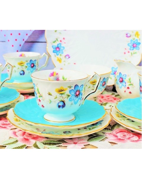 (OUT OF STOCK) AYNSLEY BLUE ANEMONE TEA SET