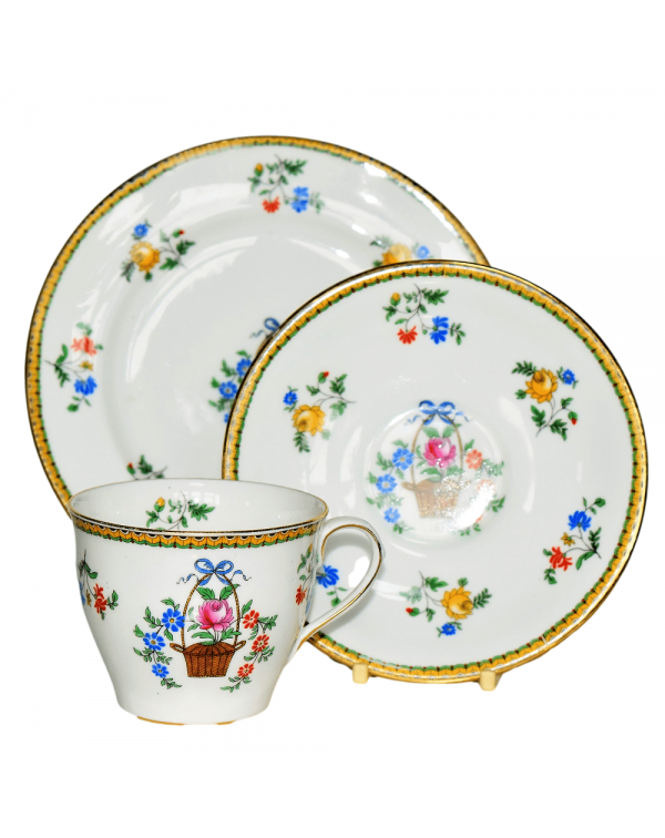 AYNSLEY FLOWER BASKET TEA TRIO