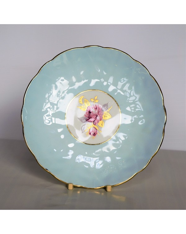 AYNSLEY BLUE CROCUS SHAPE FLORAL TEA PLATE
