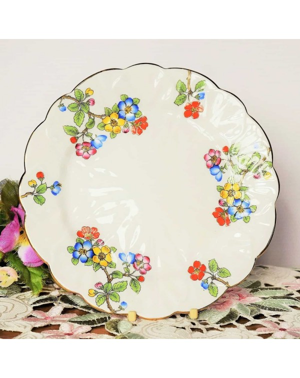 AYNSLEY TEA PLATE BLOSSOM CROCUS SHAPE