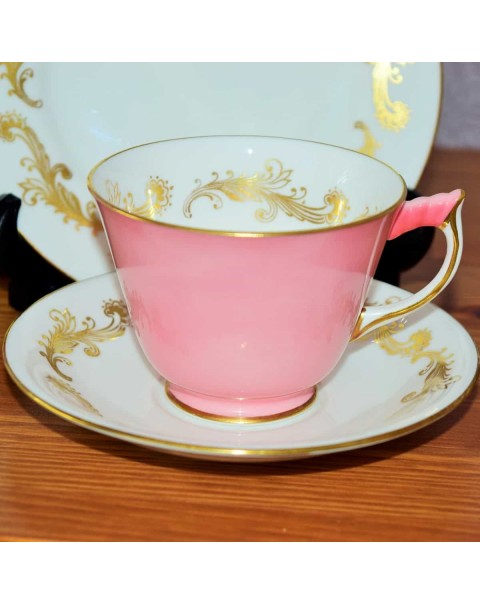 AYNSLEY PINK & GOLD TEA TRIO