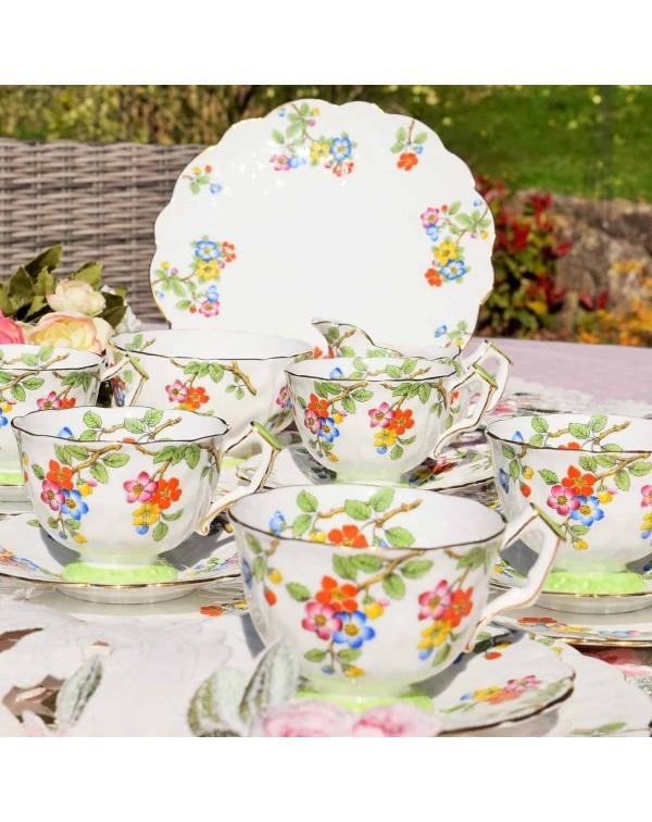AYNSLEY BLOSSOM TEA SET CROCUS SHAPE
