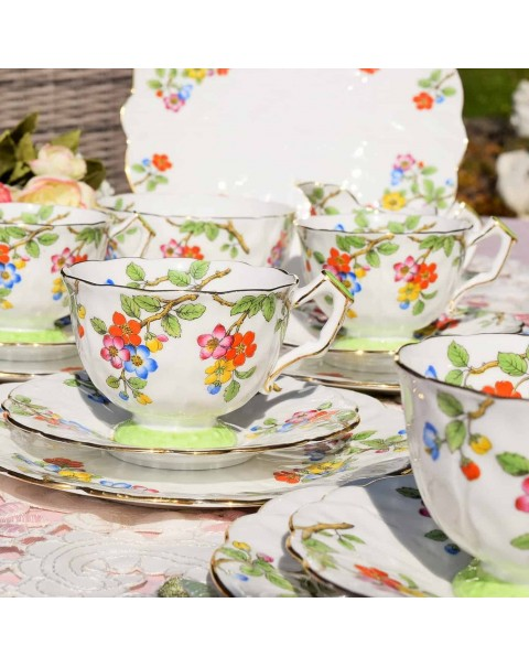 AYNSLEY BLOSSOM TEA SET CROCUS SHAPE