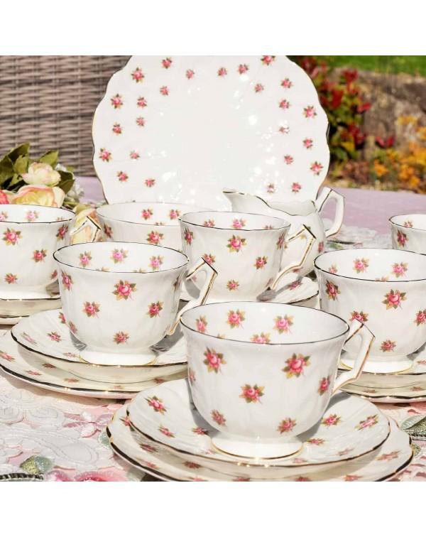 (SOLD) AYNSLEY ROSEDALE TEA SET CROCUS SHAPE