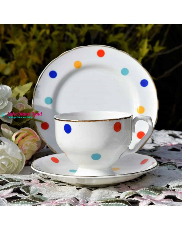 AYNSLEY POLKA DOT TEA TRIO