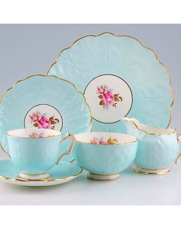 AYNSLEY BLUE CROCUS SHAPE FLORAL TEA SET