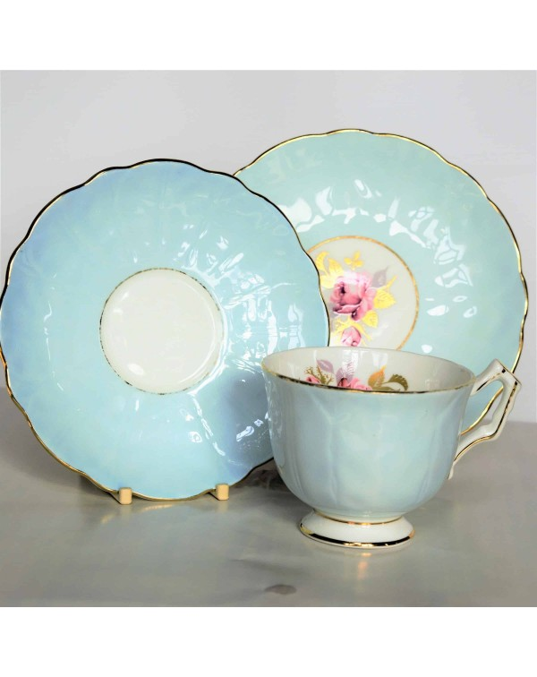 AYNSLEY BLUE CROCUS SHAPE FLORAL TEA TRIO