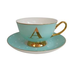 ALPHABET TEA CUP AND SAUCER LETTER A