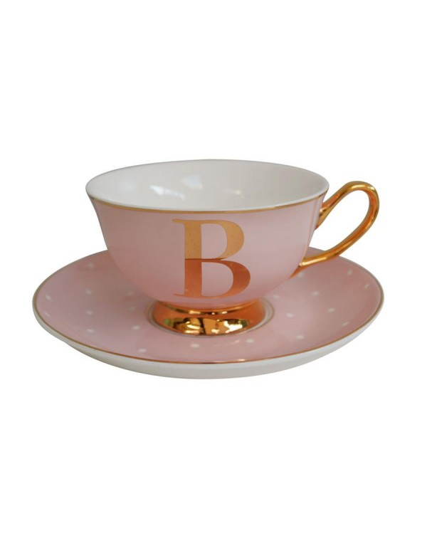 (SOLD)  ALPHABET TEA CUP AND SAUCER LETTER B