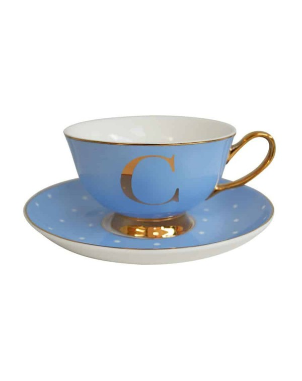 ALPHABET TEA CUP AND SAUCER LETTER C