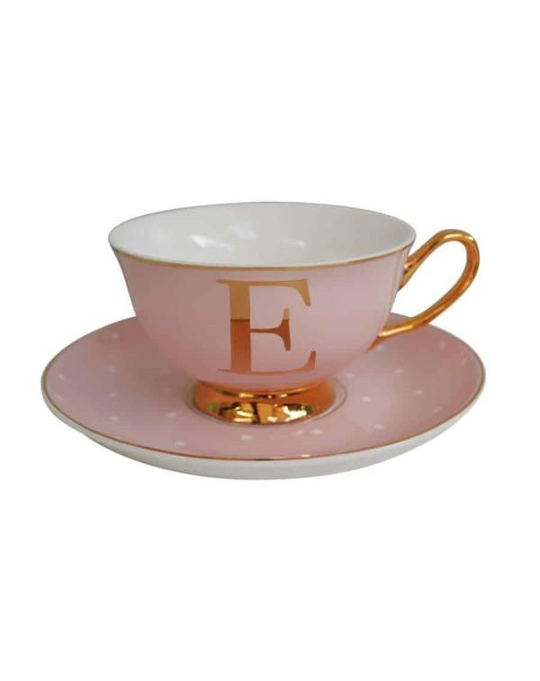 ALPHABET TEA CUP AND SAUCER LETTER E