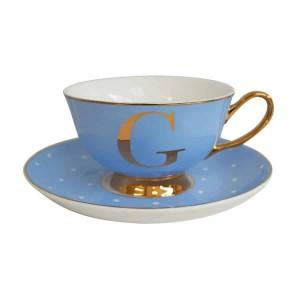 ALPHABET TEA CUP AND SAUCER LETTER G