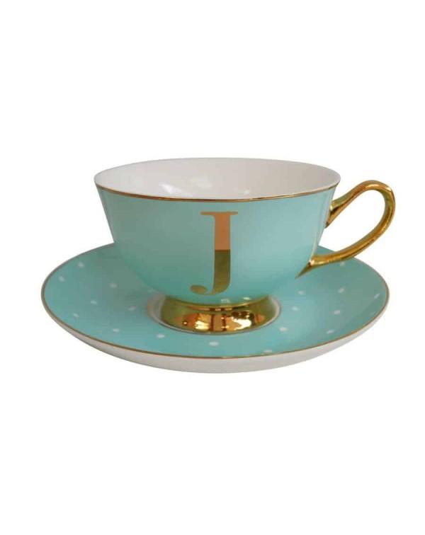 ALPHABET TEA CUP AND SAUCER LETTER J