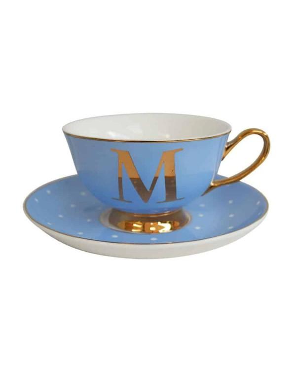 ALPHABET TEA CUP AND SAUCER LETTER M