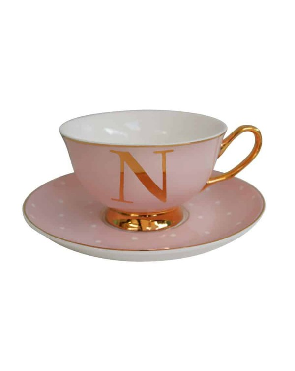 ALPHABET TEA CUP AND SAUCER LETTER N