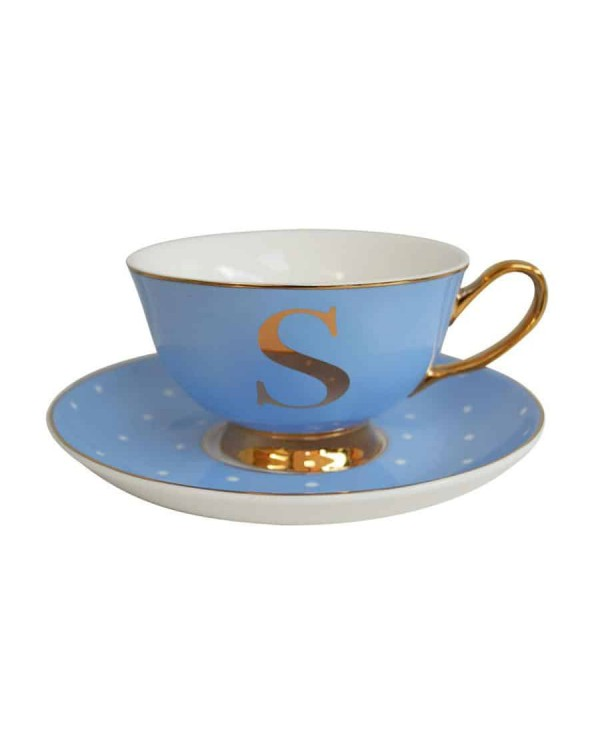 ALPHABET TEA CUP AND SAUCER LETTER S