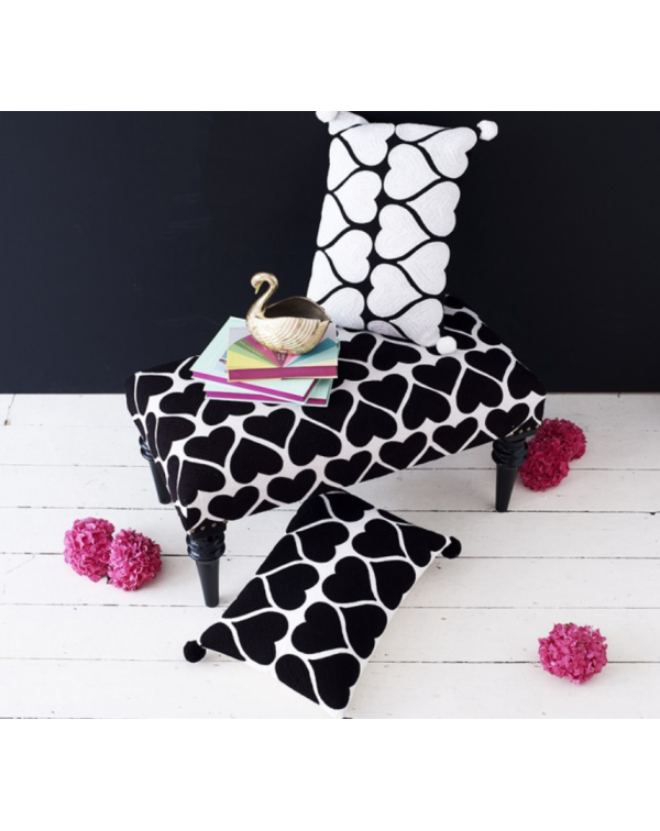LOVE HEART EMBROIDERED BENCH BLACK & WHITE