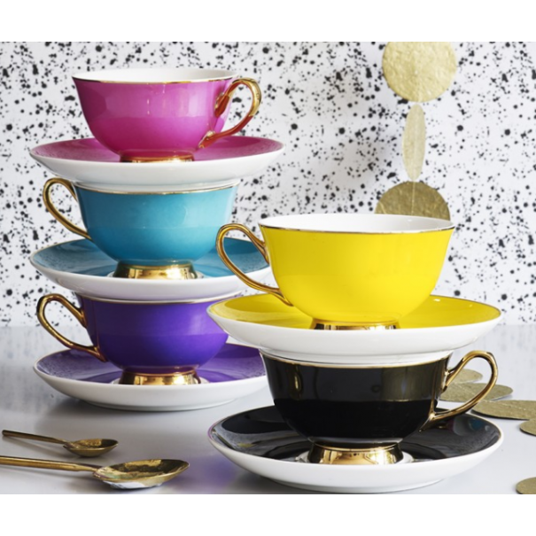 NEW HARLEQUIN CUPS & SAUCER