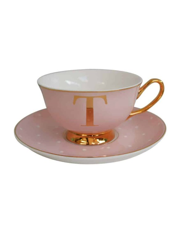 ALPHABET TEA CUP AND SAUCER LETTER T