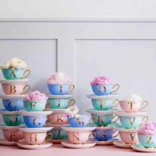 48 ALPHABET TEA CUPS AND SAUCER