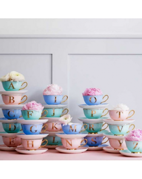 (OUT OF STOCK) 48 ALPHABET TEA CUPS AND SAUCER