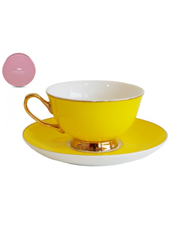 NEW BOMBAY DUCK BOXED TEA CUP & SAUCER YELLOW