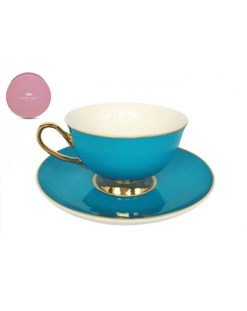NEW BOMBAY DUCK BOXED TEA CUP & SAUCER TEAL