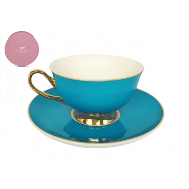 (SOLD) NEW BOMBAY DUCK BOXED TEA CUP & SAUCER TEAL