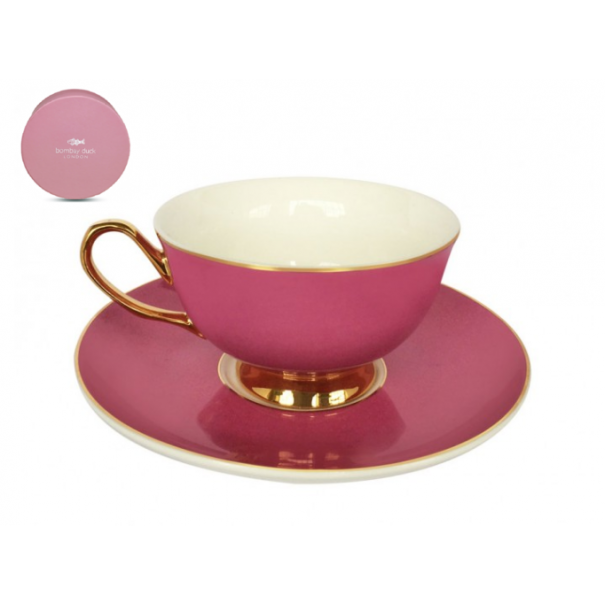 (SOLD) NEW BOMBAY DUCK BOXED TEA CUP & SAUCER PINK