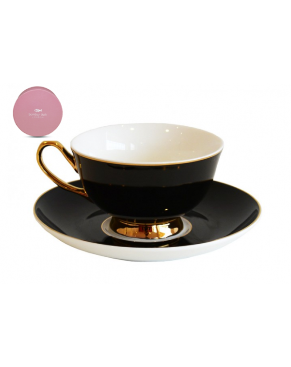 NEW BOMBAY DUCK BOXED TEA CUP & SAUCER BLACK