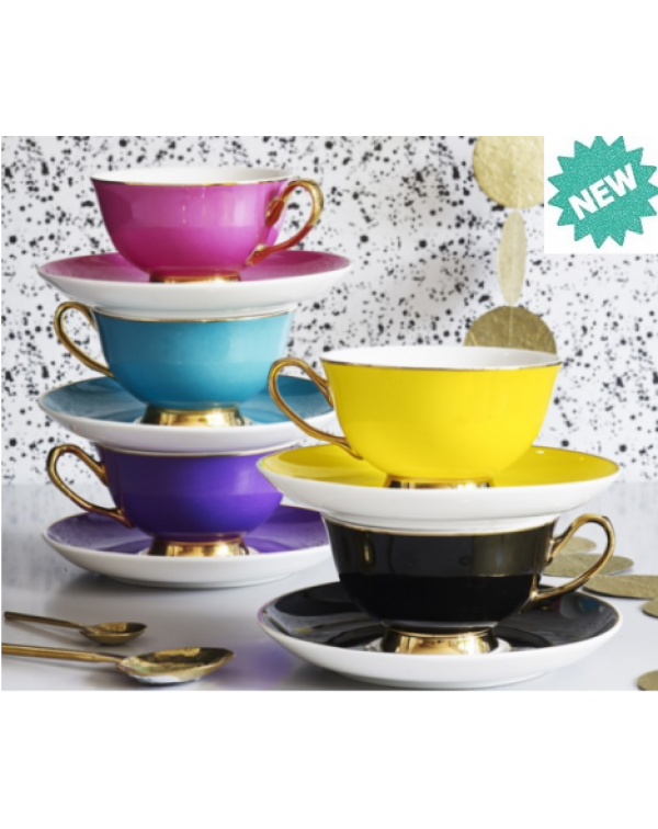 NEW BOMBAY DUCK BOXED TEA CUPS & SAUCERS SET O...