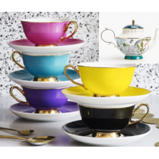 NEW HARLEQUIN 6 CUPS & SAUCER PLUS TEAPOT