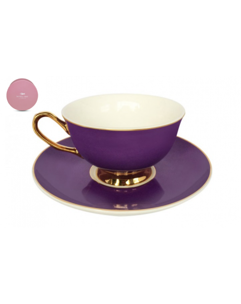NEW BOMBAY DUCK BOXED TEA CUP & SAUCER PURPLE