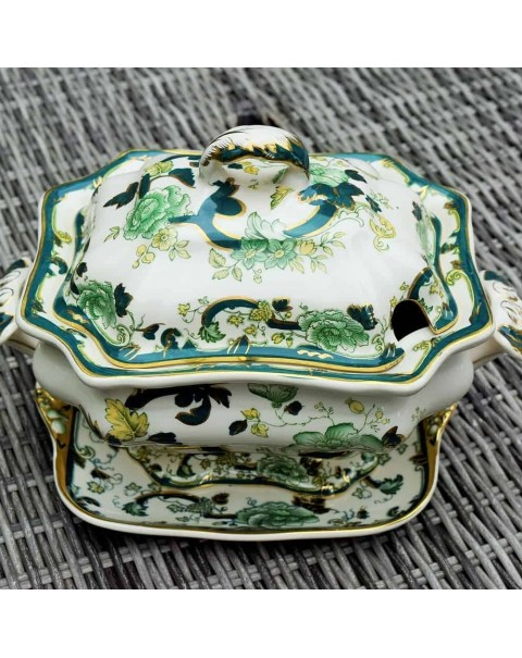 MASONS GREEN CHARTREUSE TUREEN AND PLATE