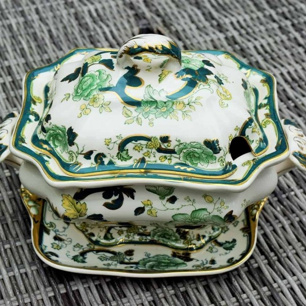 (OUT OF STOCK) MASONS GREEN CHARTREUSE TUREEN AND PLATE