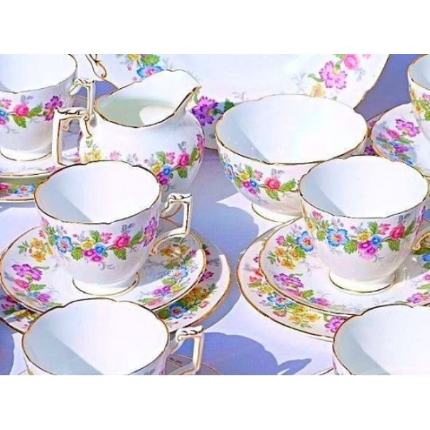 (OUT OF STOCK) COALPORT TEA SET FOR SIX MAYTIME