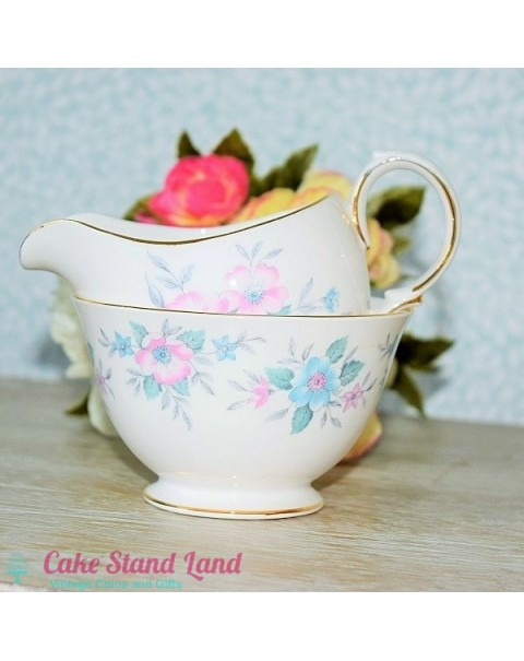 COLCLOUGH BLUE ROSE MILK & SUGAR SET
