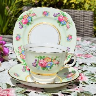 COLCLOUGH PALE GREEN FLORAL TEA TRIO