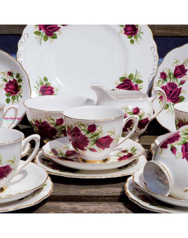 (SOLD) COLCLOUGH RED ROSES TEA SET