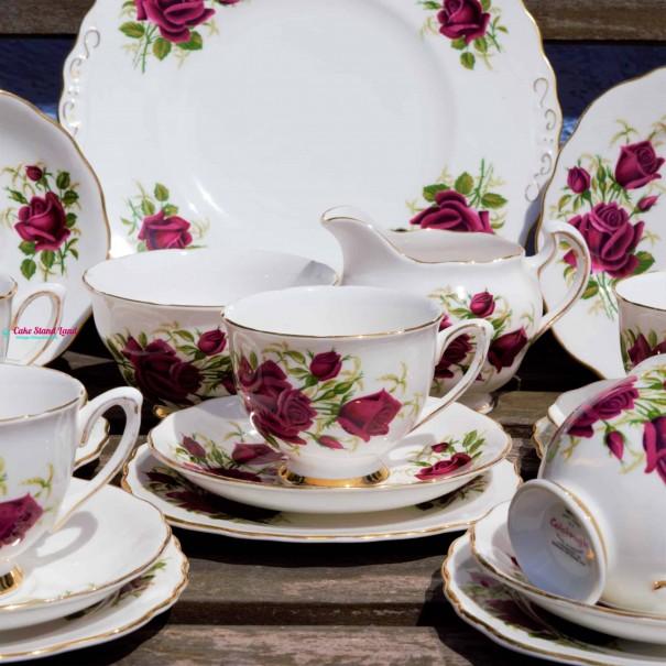 COLCLOUGH RED ROSES TEA SET