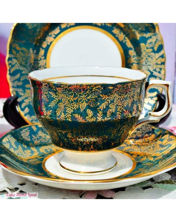 (OUT OF STOCK) COLCLOUGH GOLD LACE VINTAGE TEA TRI...