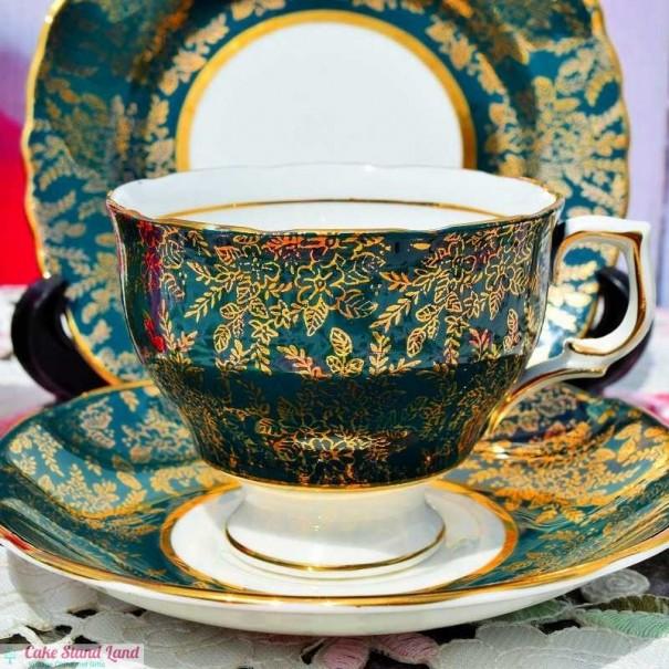 (OUT OF STOCK) COLCLOUGH GOLD LACE VINTAGE TEA TRIO